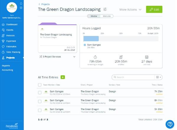 Freshbooks Project Management Screenshot